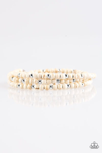 Stone Paradise White Infinity Bracelet - Paparazzi Accessories - JewelTonez Jewelry