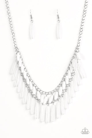 Speak Of The DIVA White Vintage necklace - Paparazzi Accessories Necklace set - Paparazzi Accessories