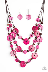 South Beach Summer Pink Wooden Necklace - Paparazzi Accessories Necklace set - Paparazzi Accessories