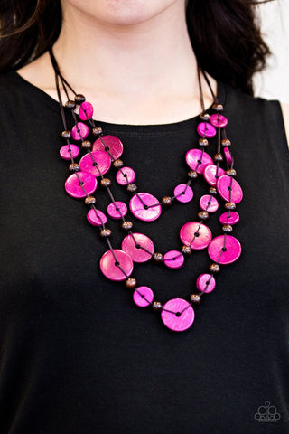 South Beach Summer Pink Wood Paparazzi Necklace - JewelTonez Jewelry