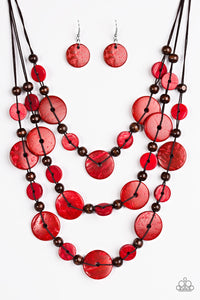 South Beach Summer Red Wood Beads Necklace - Paparazzi - JewelTonez Jewelry