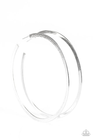 Size Them Up Silver Hammered Hoops - Paparazzi Accessories Earrings - Paparazzi Accessories