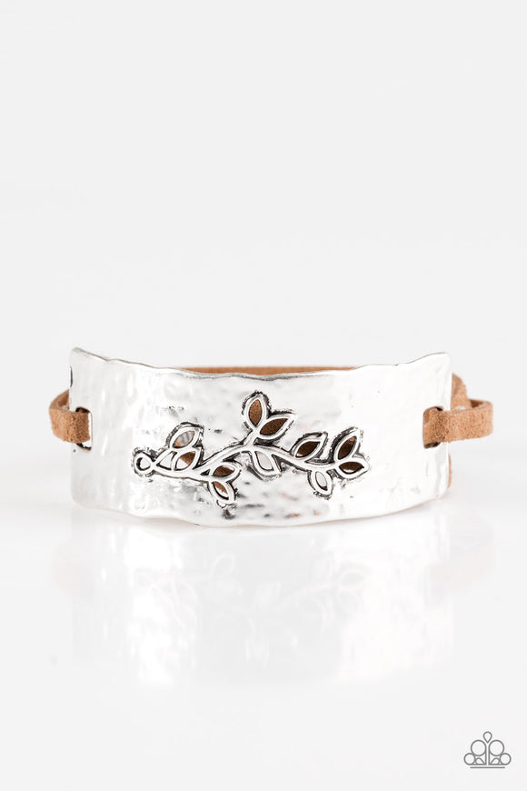Branching Out Brown Suede and Silver Bracelets - Paparazzi Jewelry Bracelets Bracelet - Paparazzi Accessories