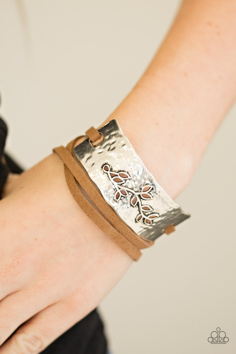 Branching Out Brown Leather Silver Paparazzi Bracelets - JewelTonez Jewelry