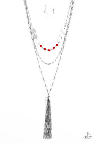 Celebration of Chic Red Silver Necklace - Paparazzi Accessories Necklace set - Paparazzi Accessories