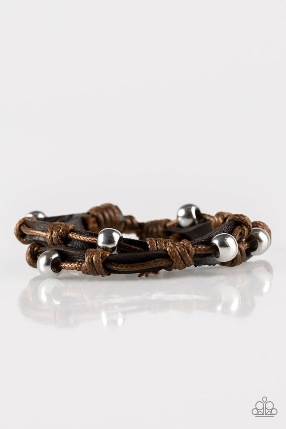 Right To Ride Men's Brown Leather Urban Bracelet - Paparazzi Accessories Bracelet - Paparazzi Accessories