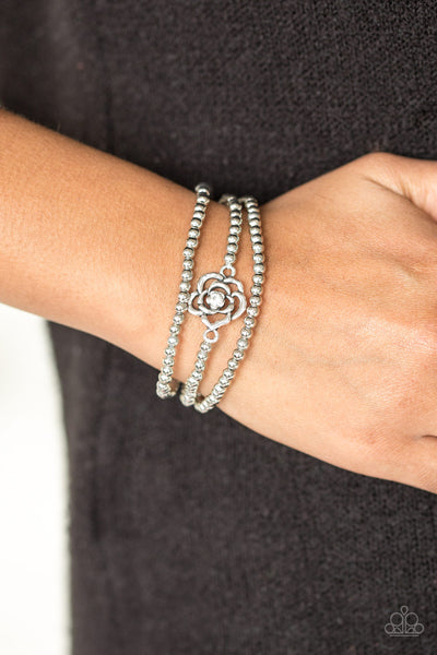 Perennial Princess White Bracelets - Paparazzi - JewelTonez Jewelry