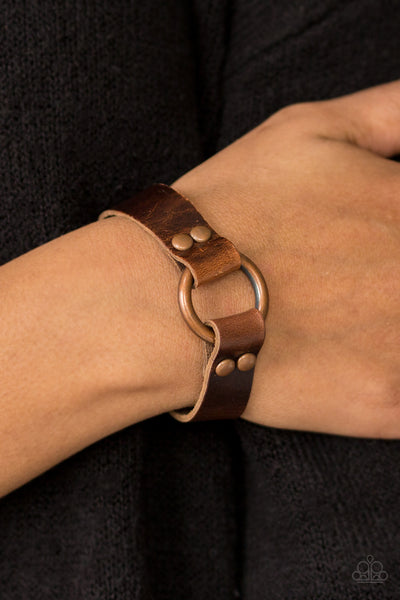 Urban Outlaw Copper Leather Urban Bracelet - Paparazzi Accessories Bracelet - Paparazzi Accessories