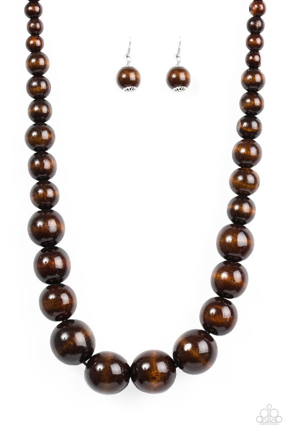 Effortlessly Everglades Brown Wooden Bead Necklace - Paparazzi Accessories Necklace set - Paparazzi Accessories