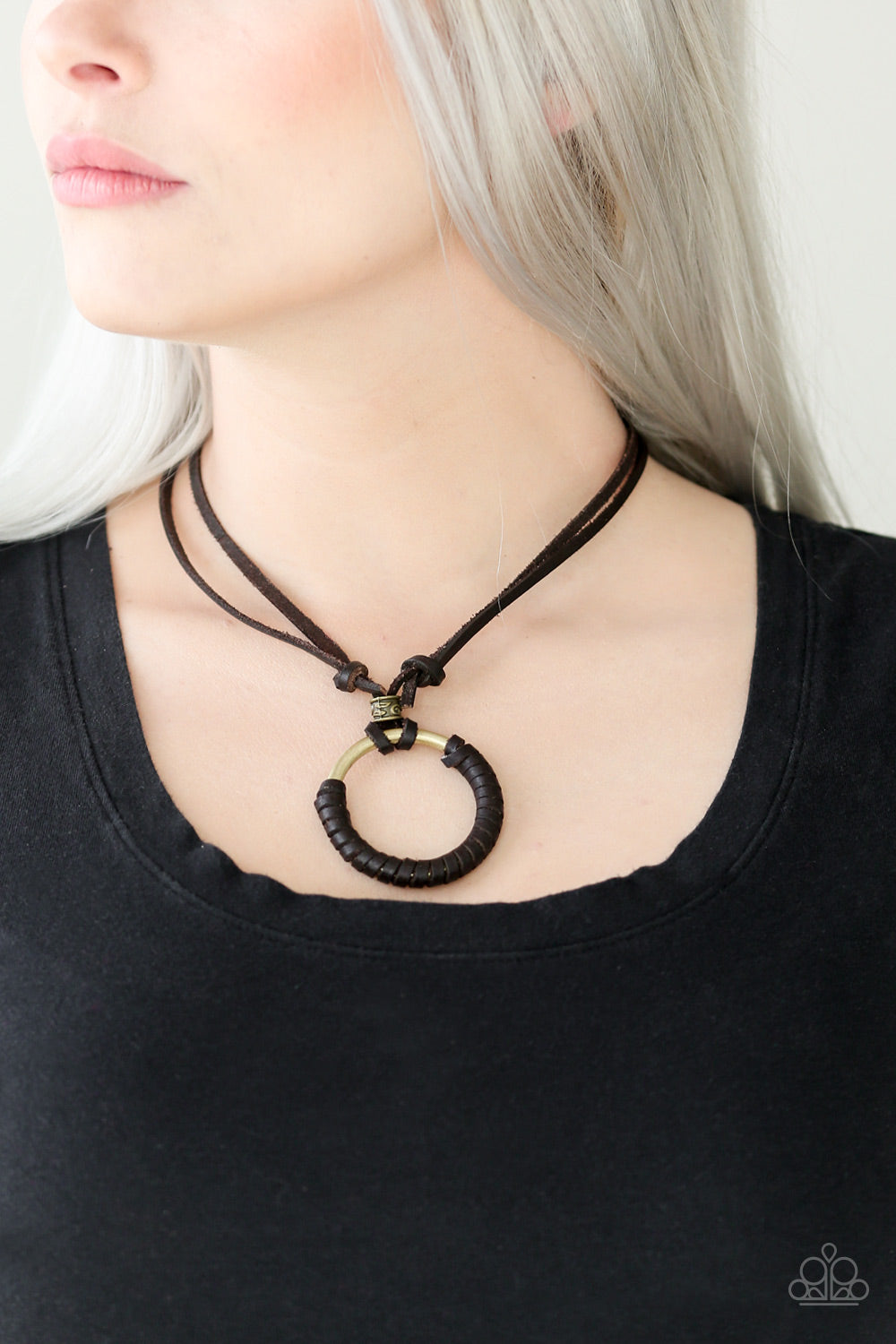 Get Over Grit! Brown Leather Paparazzi Necklace - JewelTonez Jewelry