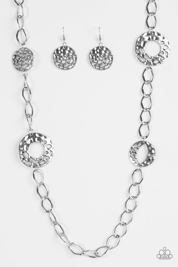 Industrial Mayhem - Silver Necklace set - Paparazzi Accessories