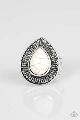 Totally Tropicana White Stone Ring - Paparazzi Accessories Ring - Paparazzi Accessories