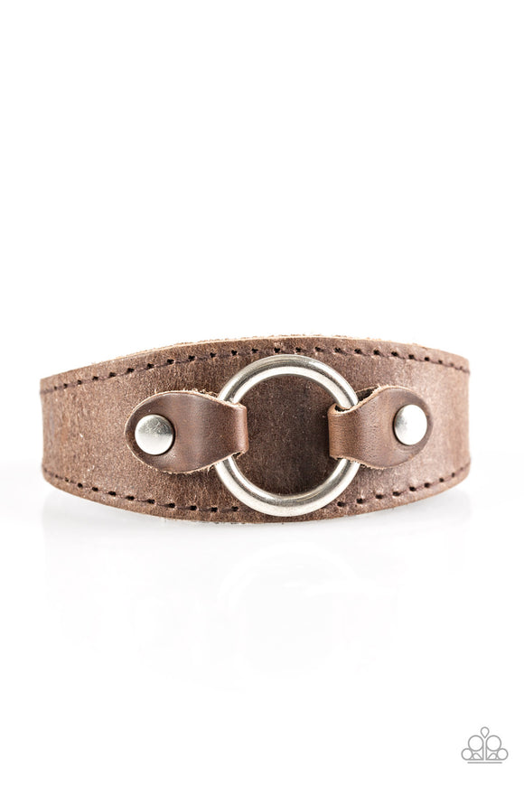 Western Wrangler Men's Urban Brown Leather Bracelet - Paparazzi Jewelry Bracelets Bracelet - Paparazzi Jewelry Bracelet