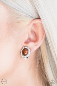 Romantically Regal Brown Paparazzi Earrings - JewelTonez Jewelry