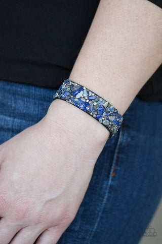 Totally Crushed It Blue Paparazzi Bracelet - JewelTonez Jewelry