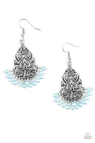 BAROQUE The Bank Silver Blue Silver Bead Earrings - Paparazzi