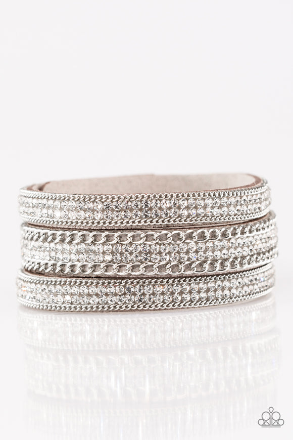 Dangerously Drama Queen Silver White Rhinestone Leather Urban Bracelets - Paparazzi Accessories Bracelet - Paparazzi Accessories