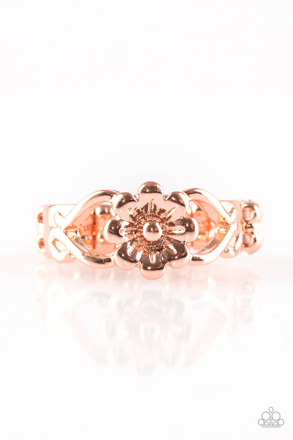 Galapagos Gardens Copper Floral Ring - Paparazzi Accessories Ring - Paparazzi Accessories