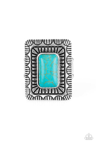 Tumbleweed Deserts Blue Stone Ring - Paparazzi Accessories Ring - Paparazzi Accessories