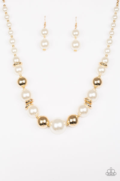 New York Nightlife Gold Paparazzi Necklace - JewelTonez Jewelry