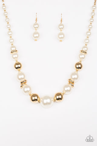 New York Nightlife Gold and White Pearl Necklace - Paparazzi Jewelry Necklace Necklace set - Paparazzi Accessories