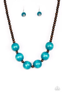 Oh My Miami Blue Wood Beads Necklace Paparazzi Jewelry Necklaces Necklace set - Paparazzi Accessories