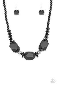 Costa Maya Majesty Black Wood Bead Silver Necklace - Paparazzi Accessories Necklace set - Paparazzi Accessories