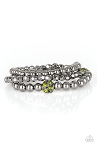Noticeably Noir Green Bracelet - Paparazzi - JewelTonez Jewelry