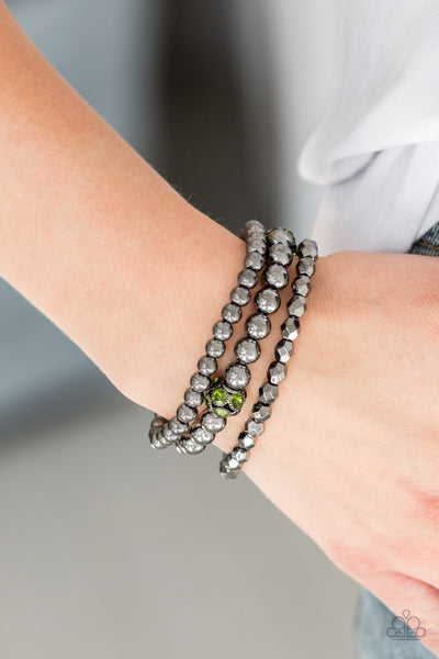 Noticeably Noir Green Bracelet - Paparazzi