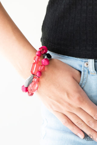 Rockin Rock Candy Pink Paparazzi Bracelet - JewelTonez Jewelry