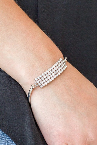 Top-Class Class White Paparazzi Bracelet - JewelTonez Jewelry