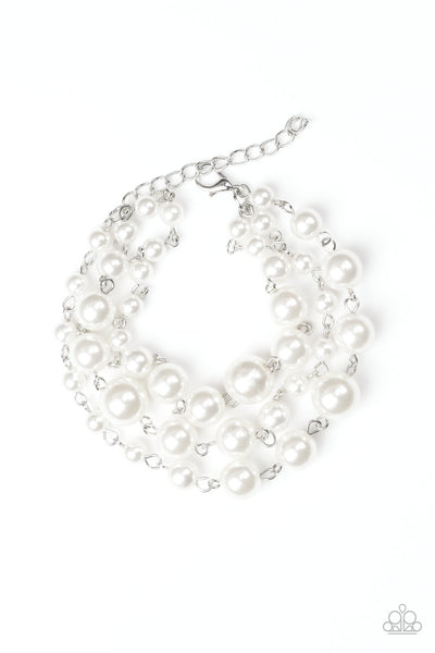 Until The End of Timeless White Paparazzi Bracelet - JewelTonez Jewelry