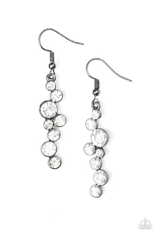 Milky Way Magnificence White Rhinestone Earrings - Paparazzi Accessories Earrings - Paparazzi Accessories