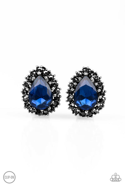 Quintessentially Queen - Blue - Paparazzi - Earrings - JewelTonez