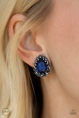 Quintessentially Queen Blue Earring Clip On  - Paparazzi