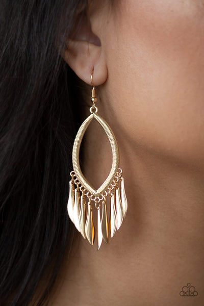 My FLAIR Lady Gold Paparazzi Earrings - JewelTonez Jewelry