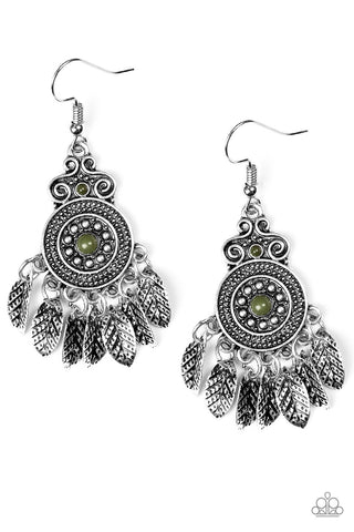 Lower East Wildside Green Earrings - Paparazzi Accessories Earrings - Paparazzi Accessories