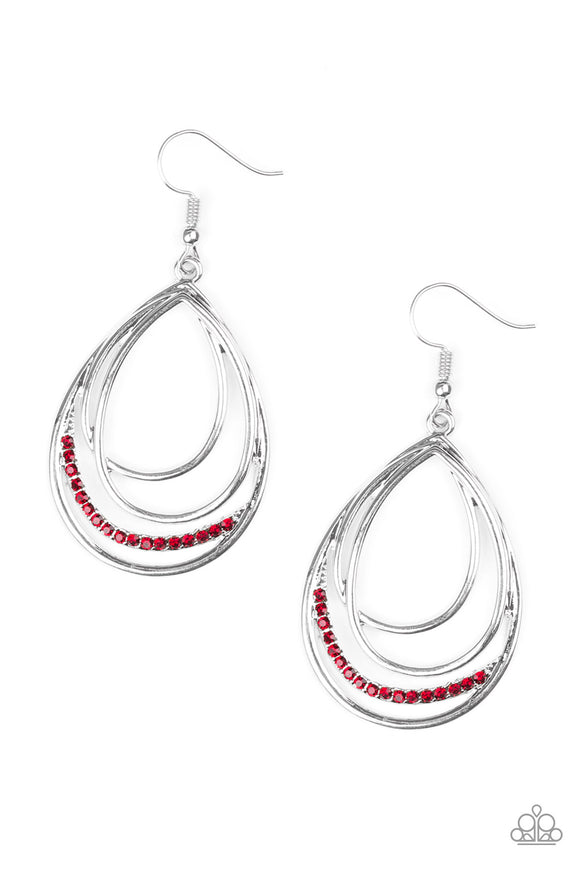 Start Each Day With Sparkle Red Rhinestone Earring - Paparazzi Jewelry Earrings Earrings - Paparazzi Accessories