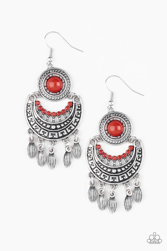 Mantra to Mantra Red Beaded Earrings - Paparazzi Jewelry Earrings Earrings - Paparazzi Accessories