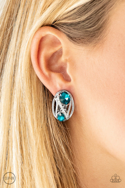 Wheres The Firework Blue Clip-On Earring - Paparazzi - JewelTonez Jewelry