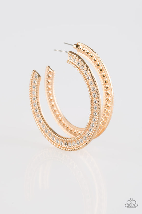 Haute Mama Gold Rhinestone Hoop Earrings - Paparazzi Jewelry Earrings Earrings - Paparazzi Jewelry Earrings