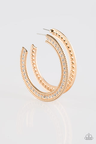 Haute Mama Gold Rhinestone Hoop Earrings - Paparazzi Accessories Earrings - Paparazzi Accessories
