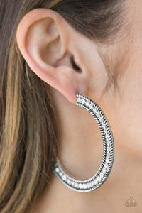 Haute Mama Silver Paparazzi Earrings - JewelTonez Jewelry