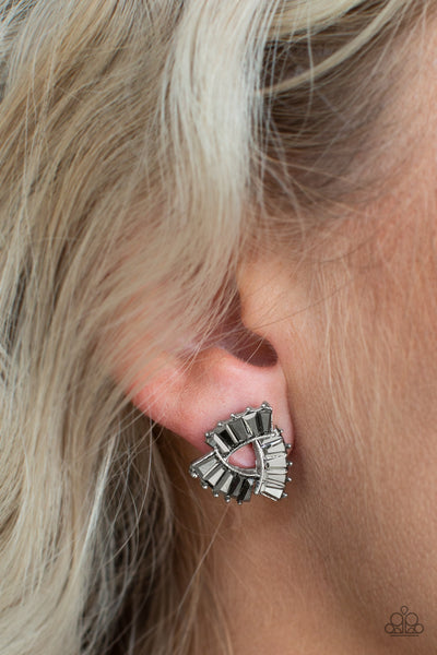 Renegade Shimmer Silver Paparazzi Earrings - JewelTonez Jewelry
