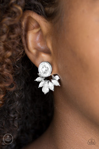 Radically Royal White Paparazzi Earrings JewelTonez Jewelry