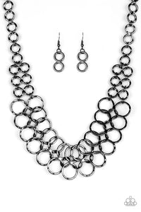 Metro Maven Black Necklace - Paparazzi Accessories - JewelTonez Jewelry