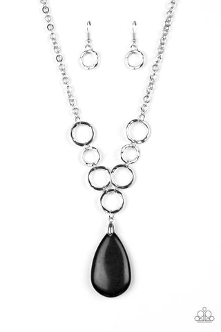 Livin On A Prairie Black Necklace  - Paparazzi Accessories Necklace set - Paparazzi Accessories