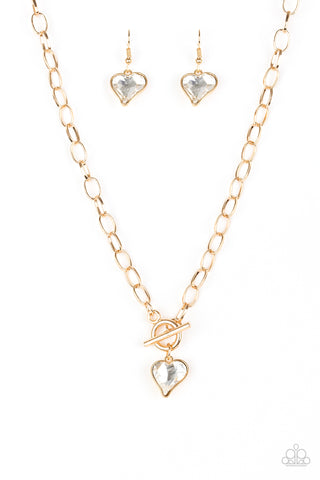 Princeton Princess Gold Heart  Necklace - Paparazzi