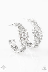 Paparazzi Exquisite Expense White Filigree Pearl Hoop Earrings - Paparazzi Accessories