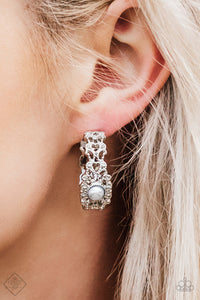 Exquisite Expense White Earring - Paparazzi - JewelTonez Jewelry